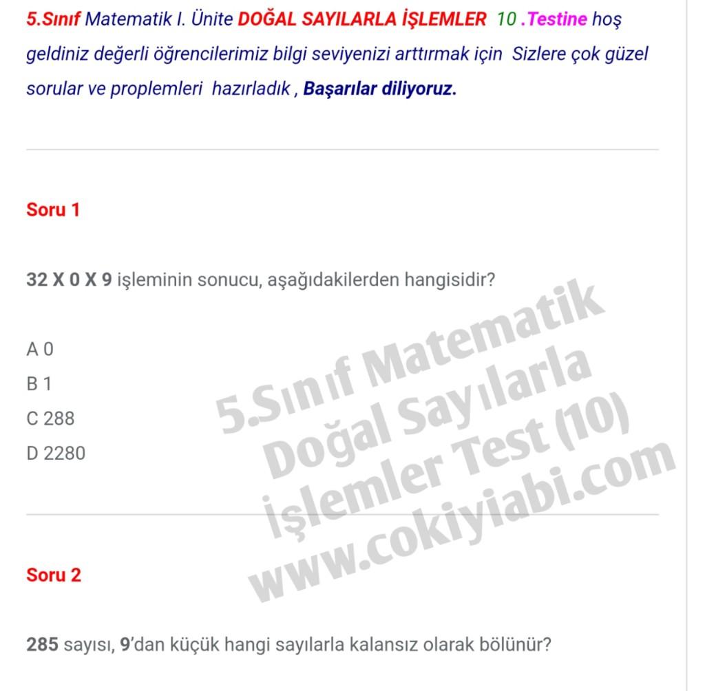 5.Sınıf Matematik Doğal Sayılarla İşlemler 10.Test