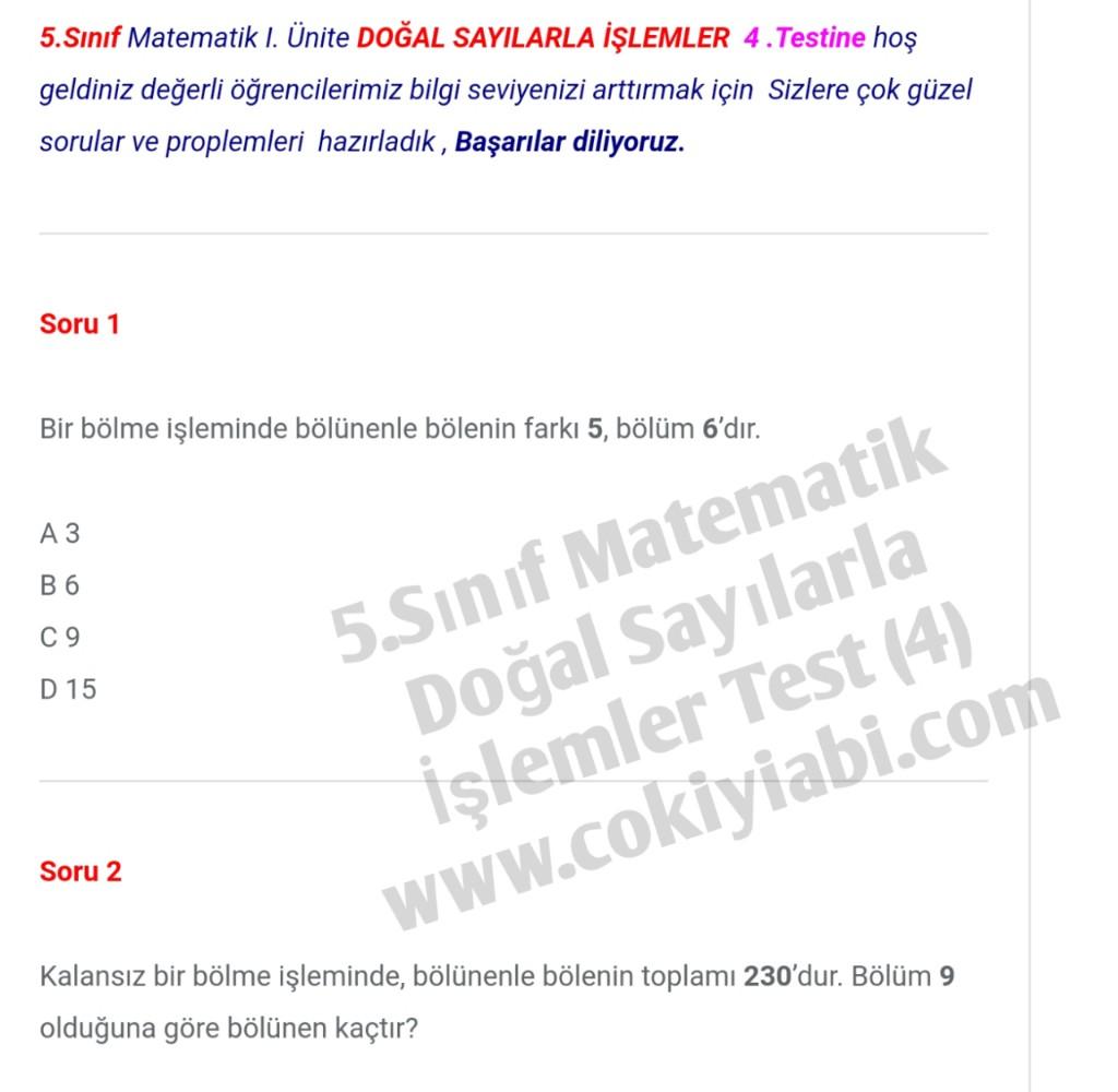 5.Sınıf Matematik Doğal Sayılarla İşlemler (4) Test