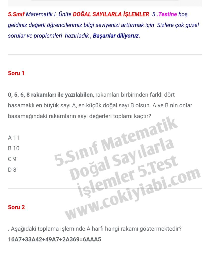 5.Sınıf Matematik Doğal Sayılarla İşlemler 5.Test