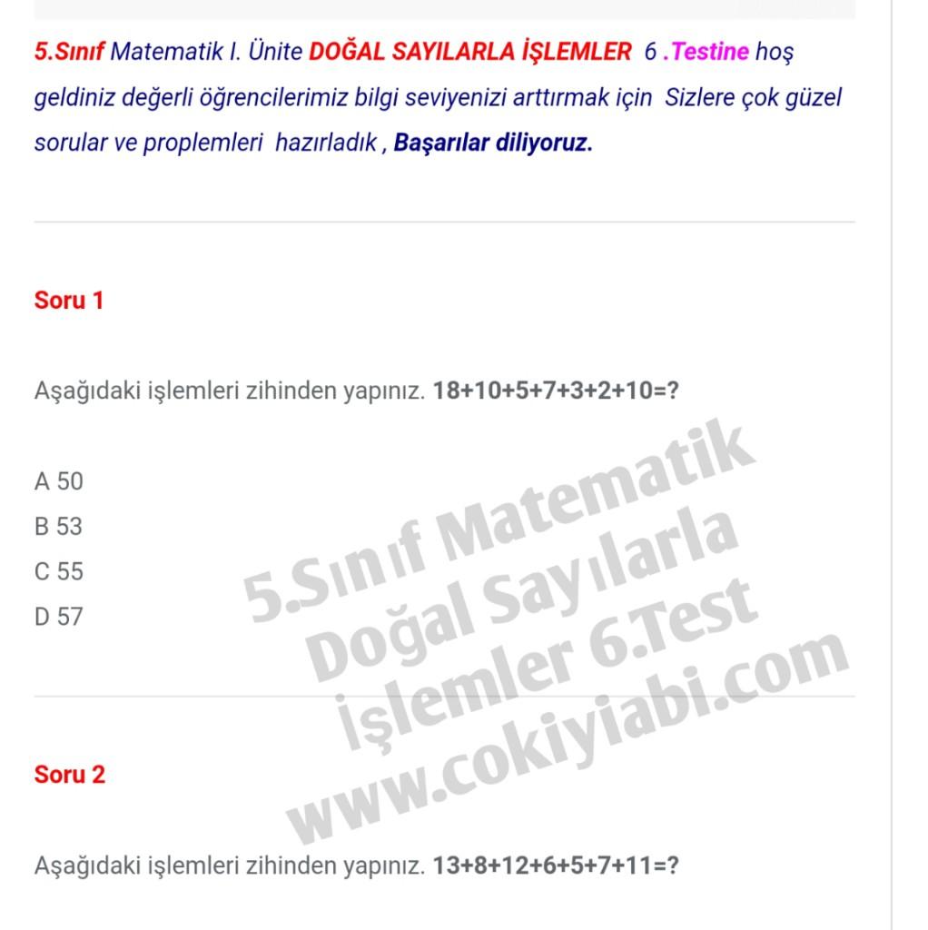 5.Sınıf Matematik Doğal Sayılarla İşlemler 6.Test
