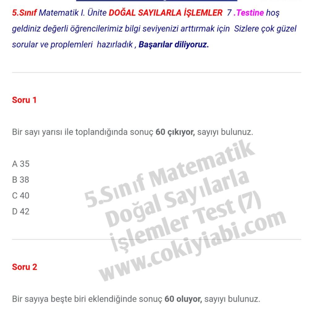 5.Sınıf Matematik Doğal Sayılarla İşlemler 7.Test