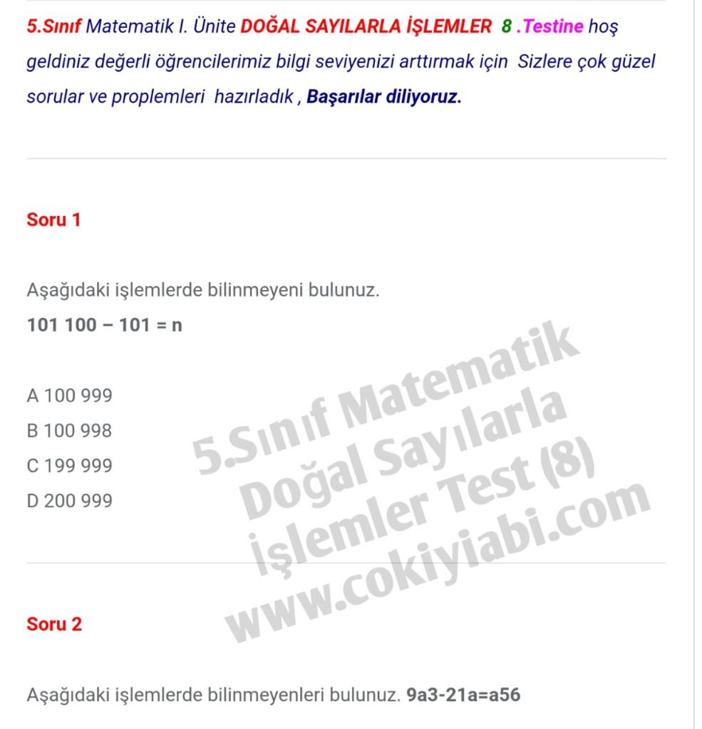 5.Sınıf Matematik Doğal Sayılarla İşlemler 8.Test