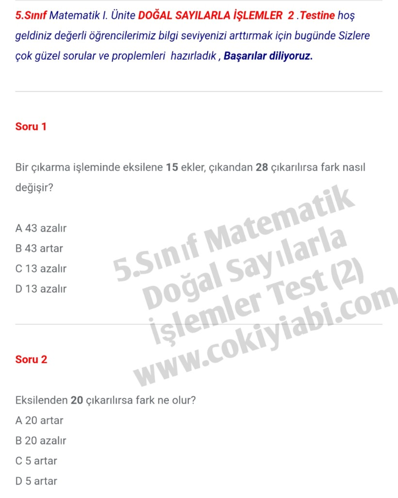 5.Sınıf Matematik Doğal Sayılarla İşlemler Proplemleri (2)