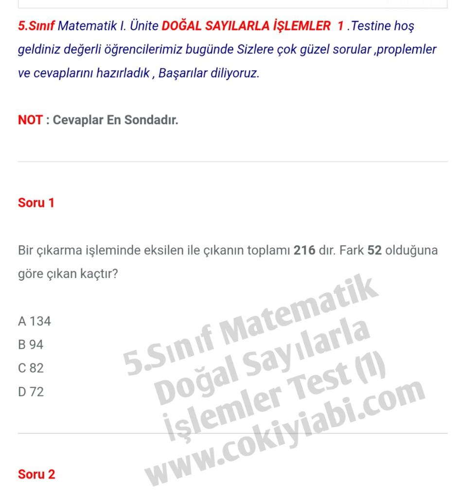 5.Sınıf Matematik Doğal Sayılarla İşlemler Test (1)