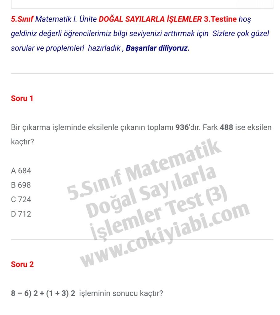 5.Sınıf Matematik Doğal Sayılarla İşlemler Test (3)
