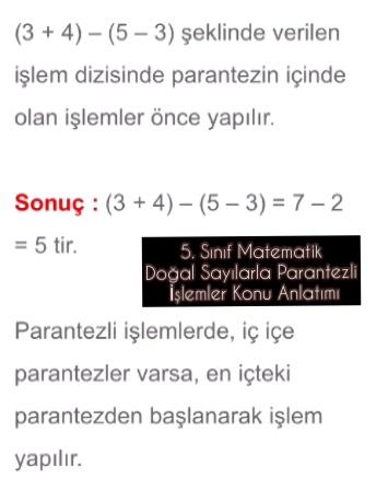 5. Sınıf Matematik Doğal Sayılarla Parantezli İşlemler Konu Anlatımı