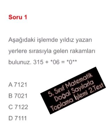 5. Sınıf Matematik Doğal Sayılarla Toplama İşlemi 2.Test