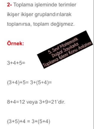 5. Sınıf Matematik Doğal Sayılarla Toplama İşlemi Konu Anlatımı