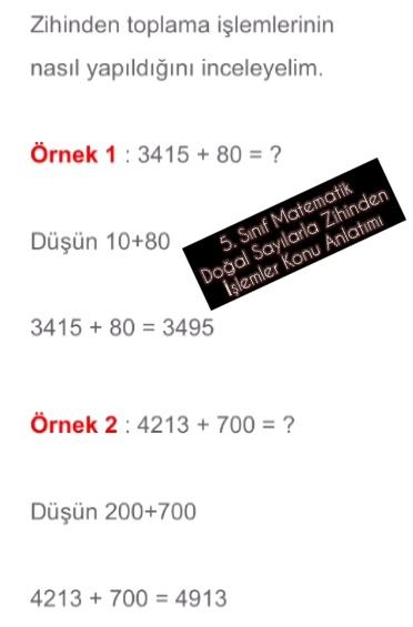 5. Sınıf Matematik Doğal Sayılarla Zihinden İşlemler Konu Anlatımı