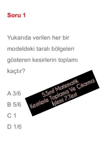 5.Sınıf Matematik Kesirlerle Toplama Ve Çıkarma İşlemi 7.Test