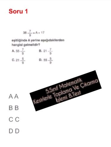 5.Sınıf Matematik Kesirlerle Toplama Ve Çıkarma İşlemi 8.Test