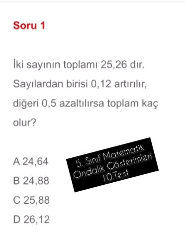 5. Sınıf Matematik Ondalık Gösterimleri 10.Test