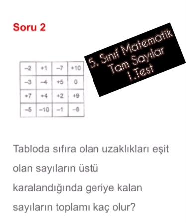 5. Sınıf Matematik Tam Sayılar 1.Test