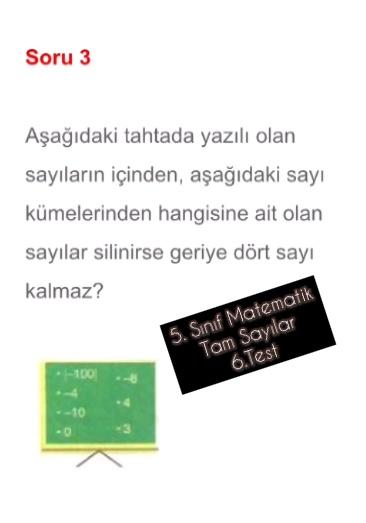 5. Sınıf Matematik Tam Sayılar 6.Test