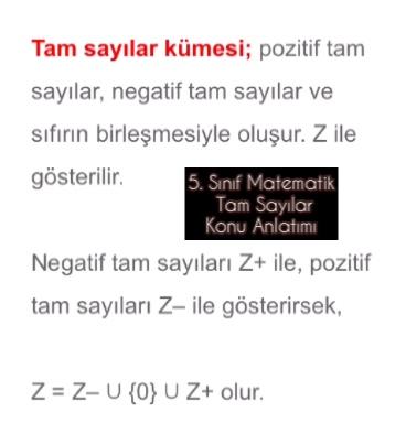 5. Sınıf Matematik Tam Sayılar Konu Anlatımı