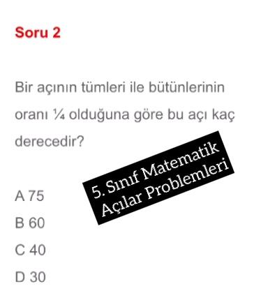 5. Sınıf Matematik Açılar Problemleri
