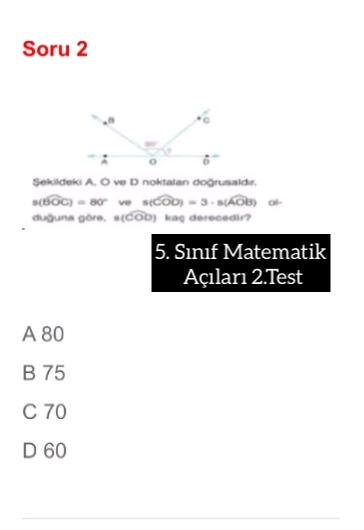 5. Sınıf Matematik Açıları 2.Test