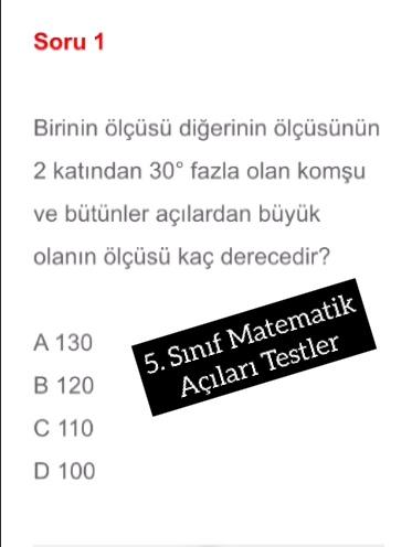 5. Sınıf Matematik Açıları Testler