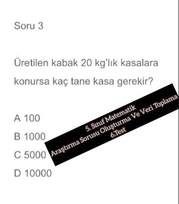 5. Sınıf Matematik Araştırma Sorusu Oluşturma Ve Veri Toplama 6.Test