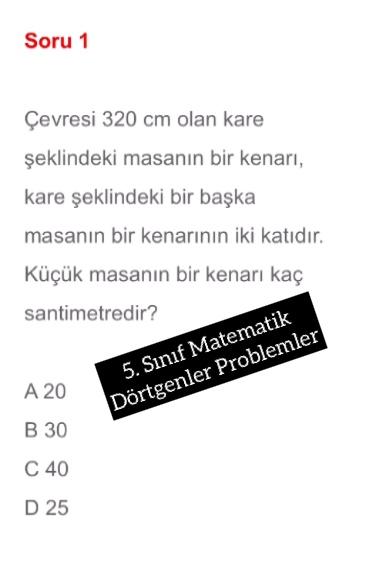 5. Sınıf Matematik Dörtgenler Problemler
