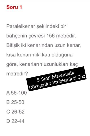 5. Sınıf Matematik Dörtgenler Problemleri Çöz