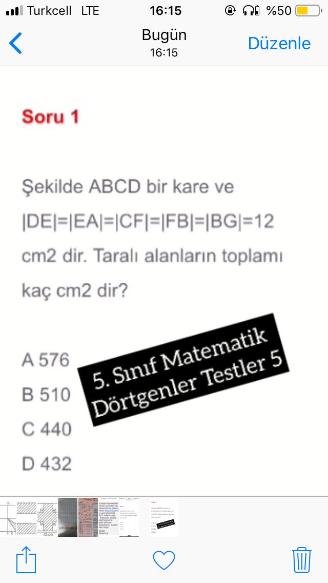 5. Sınıf Matematik Dörtgenler Testler 5