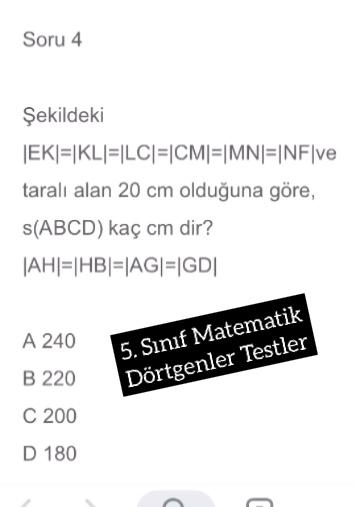 5. Sınıf Matematik Dörtgenler Testler