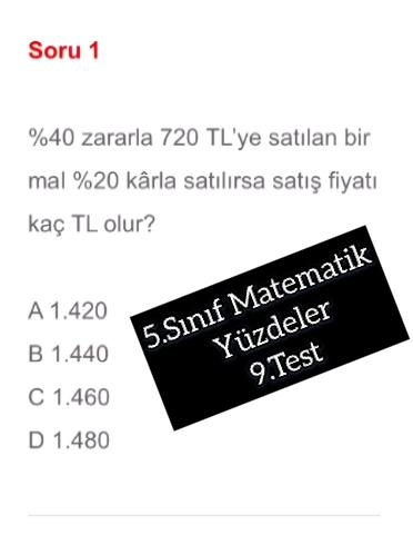 5.Sınıf Matematik Yüzdeler 9.Test