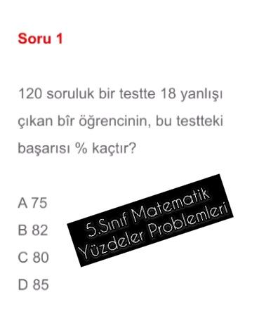 5.Sınıf Matematik Yüzdeler Problemleri