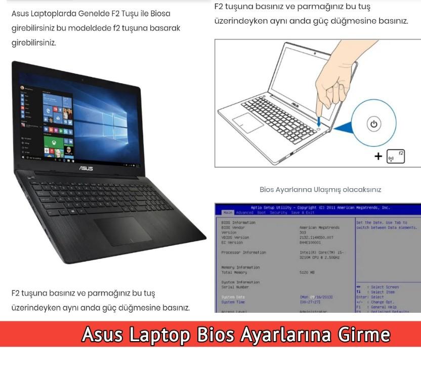 Asus Laptop Bios ayarlarından usb format atma
