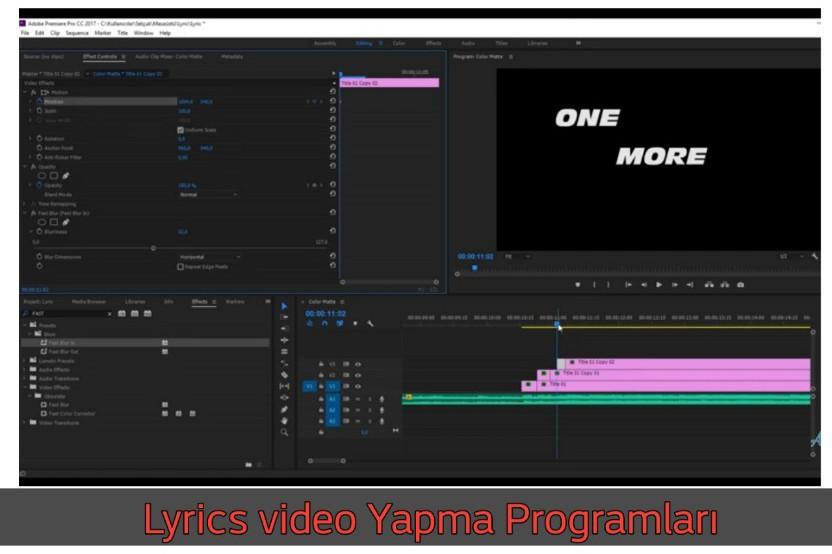 Lyrics video Yapma Programları