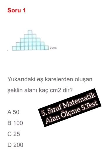 5. Sınıf Matematik Alan Ölçme 5.Test