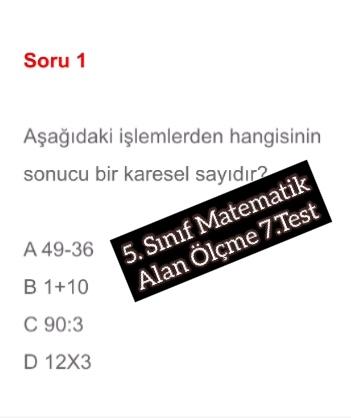 5. Sınıf Matematik Alan Ölçme 7.Test