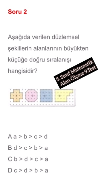 5. Sınıf Matematik Alan Ölçme 9.Test