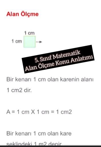 5. Sınıf Matematik Alan Ölçme Konu Anlatımı