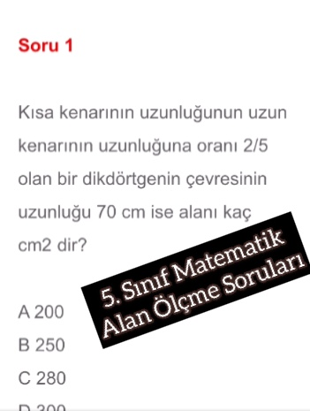 5. Sınıf Matematik Alan Ölçme Soruları