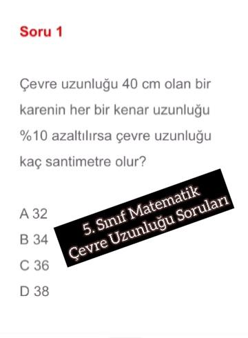 5. Sınıf Matematik Çevre Uzunluğu Soruları