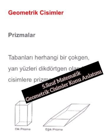 5.Sınıf Matematik Geometrik Cisimler Konu Anlatımı
