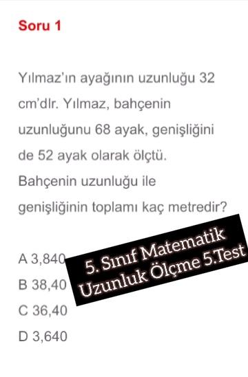 5. Sınıf Matematik Uzunluk Ölçme 5.Test