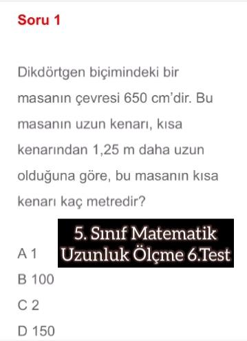5. Sınıf Matematik Uzunluk Ölçme 6.Test