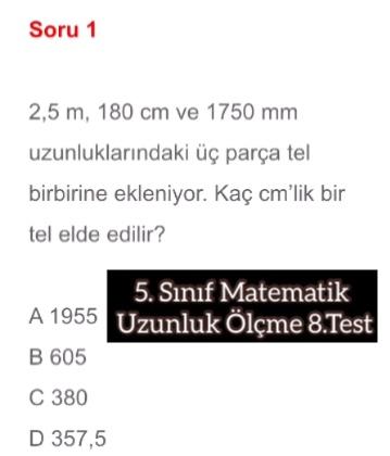 5. Sınıf Matematik Uzunluk Ölçme 8.Test