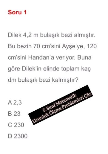 5. Sınıf Matematik Uzunluk Ölçme Problemleri Çöz