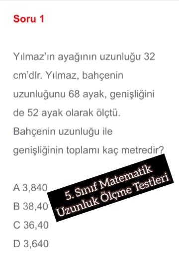 5. Sınıf Matematik Uzunluk Ölçme Testleri