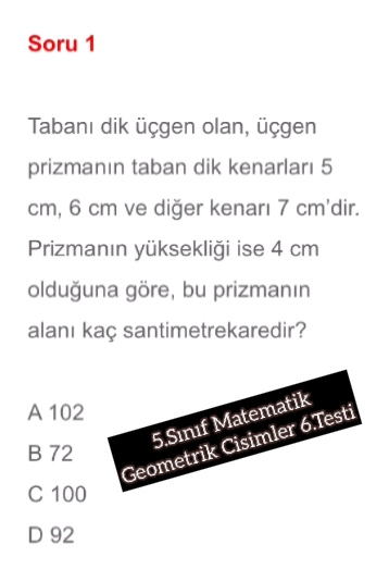 5.Sınıf Matematik Geometrik Cisimler 6.Testi