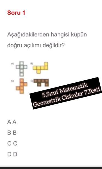 5.Sınıf Matematik Geometrik Cisimler 7.Testi