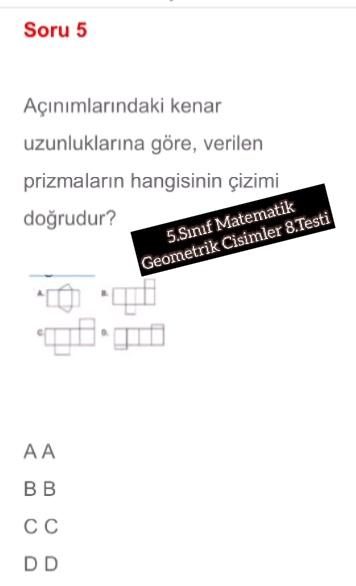 5.Sınıf Matematik Geometrik Cisimler 8.Testi