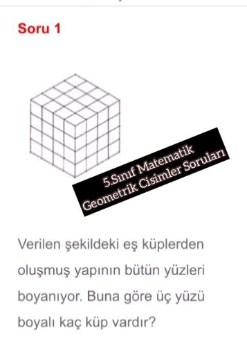 5.Sınıf Matematik Geometrik Cisimler Soruları