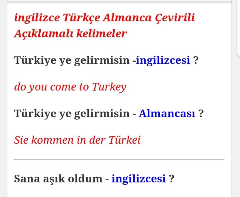 ingilizce Türkçe Çevirili Kelimeler