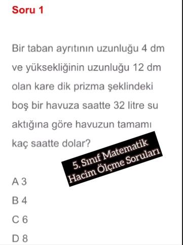 5. Sınıf Matematik Hacim Ölçme Soruları
