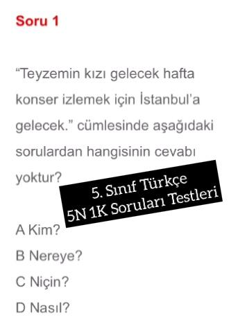 5. Sınıf Türkçe 5N 1K Soruları Testleri